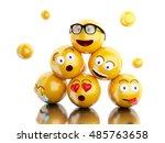 3d illustration. emojis icons... | Shutterstock . vector #485763658