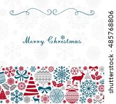 christmas greeting card.... | Shutterstock .eps vector #485768806