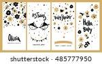 set of baby shower invitation... | Shutterstock .eps vector #485777950