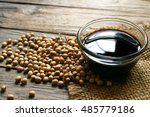 Soy sauce ,Soya, and soybean on sack