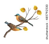 two birds and autumn tree... | Shutterstock .eps vector #485792530