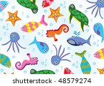 vector sea animals background | Shutterstock .eps vector #48579274