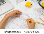 hand over construction plans... | Shutterstock . vector #485795428