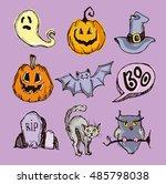 halloween hand drawn characters ... | Shutterstock .eps vector #485798038