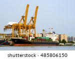 shipping port  container cargo... | Shutterstock . vector #485806150