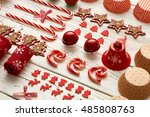 christmas decoration on wooden...   Shutterstock . vector #485808763