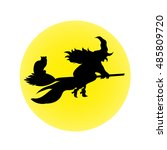 halloween witch on a broomstick ...   Shutterstock .eps vector #485809720