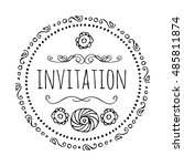 invitation. round frame in the... | Shutterstock .eps vector #485811874