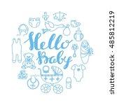 baby shower celebration...   Shutterstock .eps vector #485812219