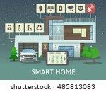 modern smart home. flat design... | Shutterstock .eps vector #485813083