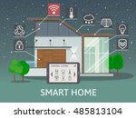 modern smart home. flat design... | Shutterstock .eps vector #485813104