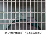 prison cell with bed and toilet ... | Shutterstock . vector #485813860