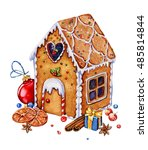 gingerbread house with... | Shutterstock . vector #485814844
