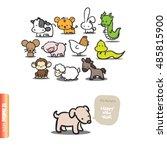 twelve cartoon chinese japanese ... | Shutterstock .eps vector #485815900