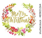 christmas card. watercolor... | Shutterstock . vector #485821264