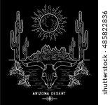 desert cactus at sunset arizona ... | Shutterstock .eps vector #485822836