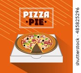 pizza pie and carton box design | Shutterstock .eps vector #485825296