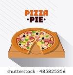 pizza pie and carton box design | Shutterstock .eps vector #485825356
