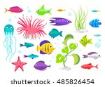 cartoon fish collection set | Shutterstock .eps vector #485826454