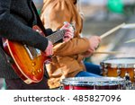 music street performers on... | Shutterstock . vector #485827096