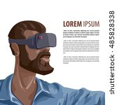 man in virtual reality headset. ... | Shutterstock .eps vector #485828338