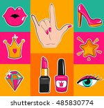fashion patch badges with lips  ... | Shutterstock .eps vector #485830774