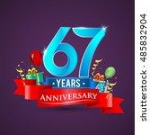67 years anniversary... | Shutterstock .eps vector #485832904