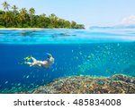 young woman swimming above... | Shutterstock . vector #485834008