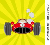 red classic racing car with...   Shutterstock .eps vector #485834410