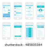 mobile app wireframe ui kit.... | Shutterstock .eps vector #485835364