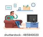 man watching tv | Shutterstock .eps vector #485840020