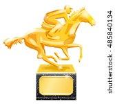 golden trophy. horse racing....   Shutterstock .eps vector #485840134