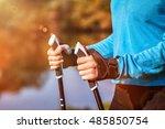 nordic walking exercise... | Shutterstock . vector #485850754