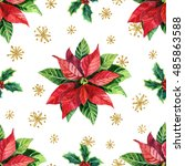 watercolor poinsettia and... | Shutterstock . vector #485863588