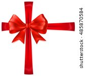 beautiful red bow with... | Shutterstock .eps vector #485870584