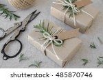 eco craft holidays gift boxes...   Shutterstock . vector #485870746