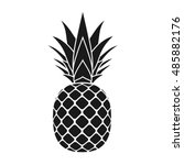 pineapple with leaf icon.... | Shutterstock .eps vector #485882176