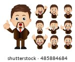 cute set   set of businesspeople | Shutterstock .eps vector #485884684