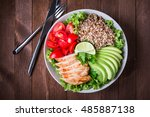 healthy salad bowl with quinoa  ... | Shutterstock . vector #485887138