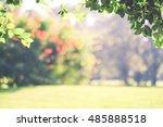 blur park with bokeh light... | Shutterstock . vector #485888518