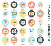 flat conceptual icons pack of... | Shutterstock .eps vector #485890420