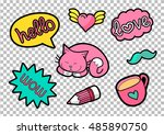 vector colorful quirky patches... | Shutterstock .eps vector #485890750