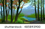 mount fuji in scenic background | Shutterstock .eps vector #485893900