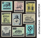 vector set of stamps on the... | Shutterstock .eps vector #485895934