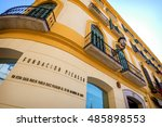 malaga   may 15  the pablo... | Shutterstock . vector #485898553