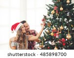 cute  young couple decorating a ... | Shutterstock . vector #485898700