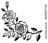 branch of roses on a white... | Shutterstock . vector #485899750