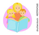 mother reading book to her... | Shutterstock .eps vector #485904568