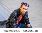 urban hipster man wearing black ... | Shutterstock . vector #485905318