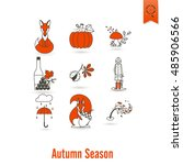 set of flat autumn icons.... | Shutterstock .eps vector #485906566
